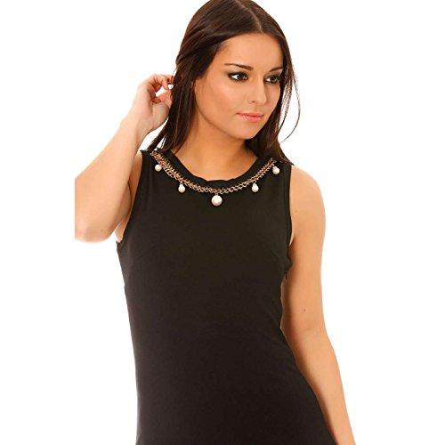 Miss Wear Line - Robe de soirée noire à encolure chaine dorée fantaisie et perles