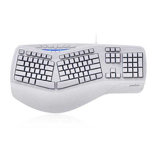 Perixx PERIBOARD-312 Ergonomic Backlit Keyboard - Wired USB with 2 Hubs - Natural Ergonomic Split Design - White LED - (Ergonomic Usb)