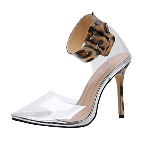 Summer Elegant High-Heeled Sandals for Womens,2019 New Sexy Buckle Transparent Pointed Toe Single Cool Feel Soft Shoes (Brown, -