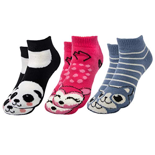 Polar Extreme (3 Pairs) Thermal Ankle Animal Slipper Socks With Grippers Nonslip Winter Warm Socks For Women Kids -