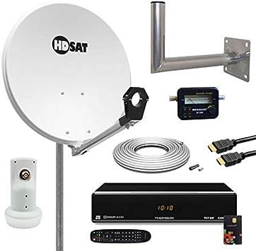 Promo Kit Antena Parabólica 60 cm + receptor Satellite TNTSAT (Astra) + LNB + 20 m Cable Coaxial + SATFINDER + soporte de pared