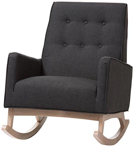 Baxton Studio 424-7843-AMZ Martine Rocking Chair, Dark Grey