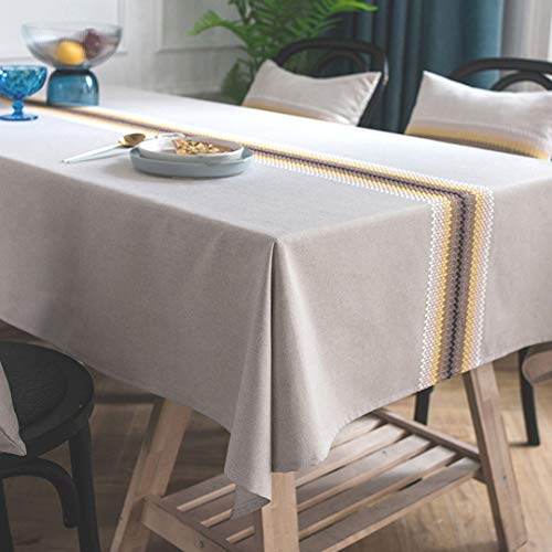 Bringsine Embroidery Tablecloth Heavy Weight Cotton Linen Fabric Dust-Proof Water-Proof Table Cloth Cover for Kitchen Dinning Tabletop Deco Yellow and White Line(Square, 53 x 53Inch)