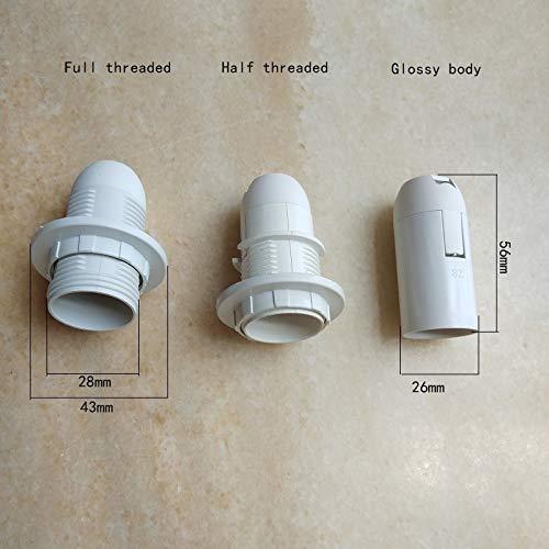 Kamas 4pieces/lot E14 black/white plastic clamping type lamp holder socket with M10 back cover lampholder flexible 2A 110V 220V - (Color: white, Base Type: Full thread)