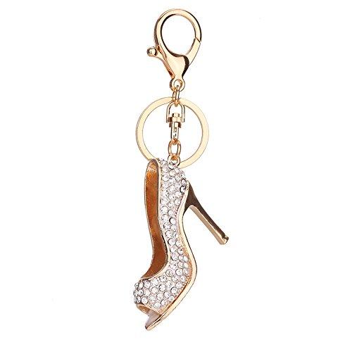 - Slendima Exquisite Rhinestones High Heels Keyring Fashion Car Key Chain Women Bag Hanging Decor Silver
