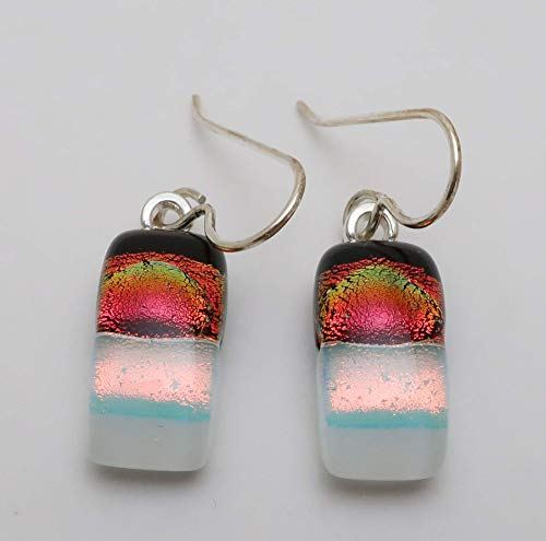 Black white and Red Fused Dichroic Glass dangle earrings Sterling silver ear wires #136 ()