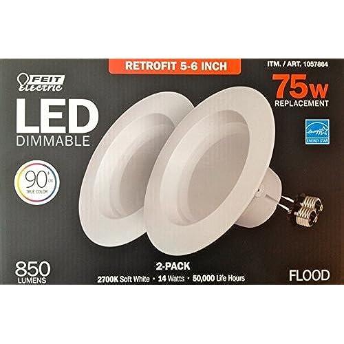 Retrofit led recessed lighting amazon feit electric led 2 pack retrofit kit replaces 5 6 inch soft white 2700k 850 lumens aloadofball Choice Image