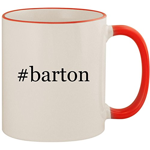 (#barton - 11oz Ceramic Colored Handle & Rim Coffee Mug Cup, Red)