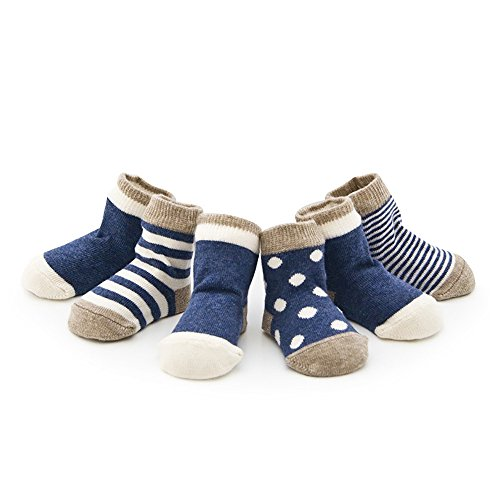 Ueither Infant Baby Toddler Cozy 4 Styles Cute Socks for Girls and Boys 4 Pairs (M (1-3 Years), Blue)