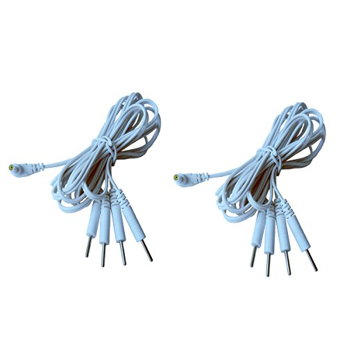 ELYSAID 2Pcs/Pack 4 in 1 Replacement Electrode Lead Wires Connect Cables DC Head 2.35mm Pin 2mm for TENS 7000 & TENS Machines