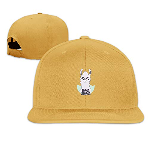 Bsfage Fluffy Llama in Round Sunglasses Adjustable 3D Color Printing Flat Baseball Cap for Unisex, Child ()