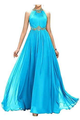 Applikation Strass bodenlang Linie Ivydressing Damen Elegant Promkleid Chiffon Abendkleid Ballkleid Neckholder Blau Falte A aermellos gwHRx
