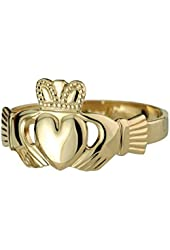Claddagh Ring Mens 14K Gold Contour Band Made in Ireland