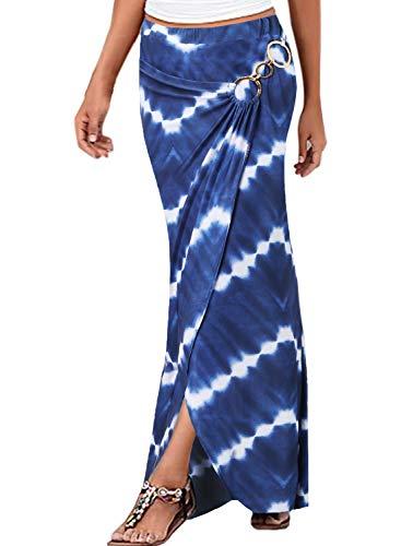 VFSHOW Womens Summer Boho Blue White Chevron Zig Zag Striped Print Ruched High Waist Casual Beach Party Faux Wrap Maxi Skirt 3101 BLU XXL