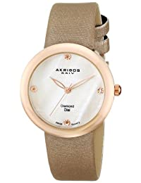 Akribos XXIV Women's AK687PK Impeccable Analog Display Swiss Quartz Brown Watch