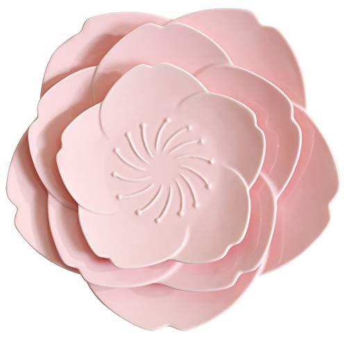 Jusalpha Pink Cherry Blossom 3-Piece Dinnerware Plate set (Pink ()