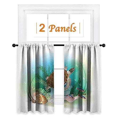 maisi Ocean, Waterproof Window Curtain, Sea Turtle Swims in The Ocean Tropical Underwater World Aquarium Illustration Print, for Sliding Glass Door (W55 x L72 Inch) Green Brown ()