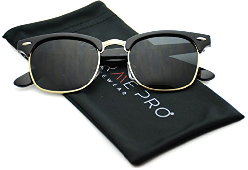 Price comparison product image Polarized Clubmaster Classic Half Frame Semi-Rimless Rimmed Sunglasses