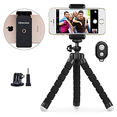 Phone Tripod, UBeesize Portable and Adjustable Camera Stand Holder with Wireless Remote and Universal Clip, Compatible with iPhone, Android Phone, Camera, Sports Camera GoPro?2018 New Version?