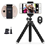 Phone Tripod, UBeesize Portable Adjustable Camera Stand Holder Wireless Remote Universal Clip, Compatible iPhone, Android Phone, Camera, Sports Camera GoPro