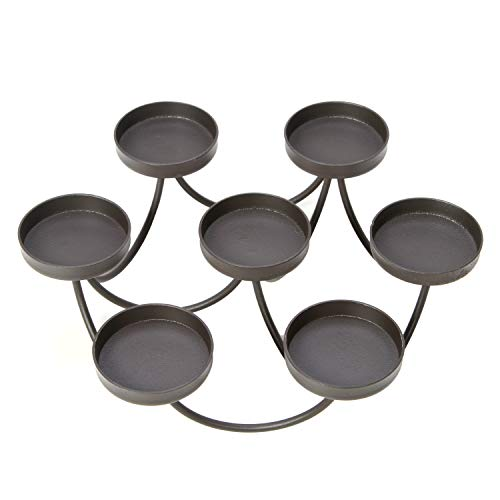 - Hosley 8.75'' Diameter, Black, 7- Candle Holder. Ideal Gift for Wedding, Aromatherapy, Spa, Zen, Citronella tealights in a Patio Candle Garden. O5