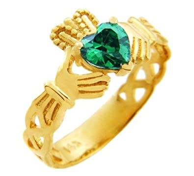 b46e8e0ddf9a5 Amazon.com: 10k Yellow Gold Trinity Knot Band Claddagh Ring with ...