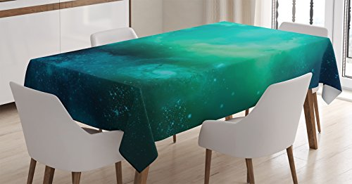 Ambesonne Space Decorations Tablecloth, Fog Space Starfield Nebula and Planet Universe Astral Zone Movements Celestial Print, Rectangular Table Cover for Dining Room Kitchen, 52x70 Inches, Navy Teal (Celestial Table)