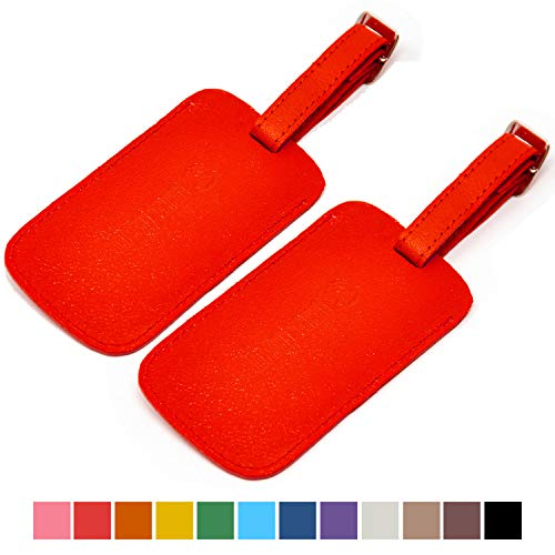 Logical Leather Luggage Tag Genuine Leather Travel ID Tags with Adjustable Leather Strap, Address Card and Privacy Cover, Red, Set of 2