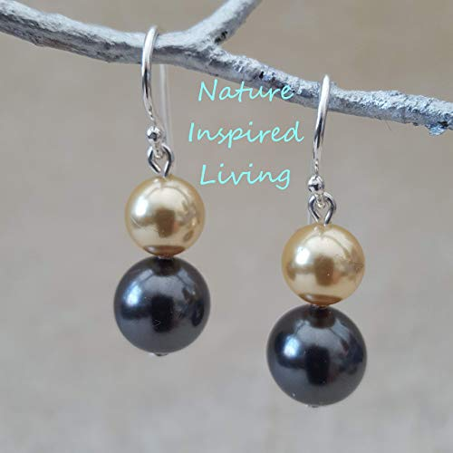 (Black and Gold South Sea Pearl Earrings Swarovski Pearls on Sterling Silver Earwires Made in the USA)
