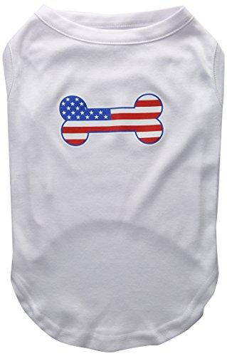 Mirage Pet Products Bone Shaped American Flag Screen Print Shirt, X-Large, White