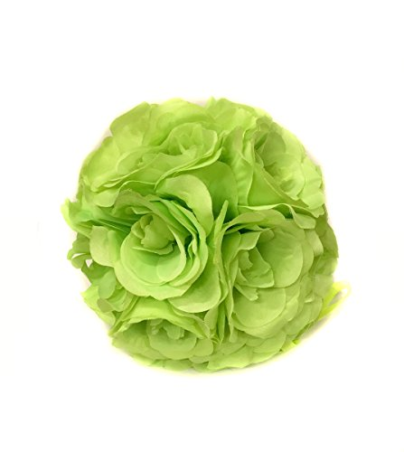Ben Collection Fabric Artificial Flowers Silk Rose Pomander Wedding Party Home Decoration Kissing Ball Trendy Color Simulation Flower (Apple, 20cm) (Green Kissing Ball)