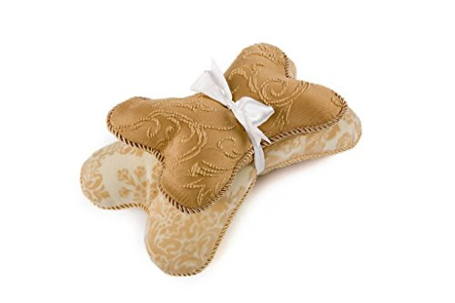 Croscill Bone-Shaped Soft Dog Pillow with Squeaker, Tan Camel, Set of 2 by Croscill Pampered Pets