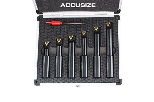 Accusize - 6 pc, 5/8'' Round Shank, 90 Degree, Indexable Boring Bar Set, #2627-9106
