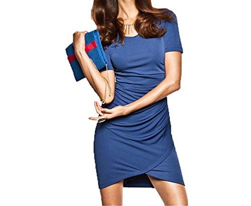 [5G0RLKUY8 Fashion Mini Dress O-neck Short Sleeve High Low Bodycon Dress High Waist Contrast Casual Dress Vestidos Blue] (Western Day Dress Up Ideas)