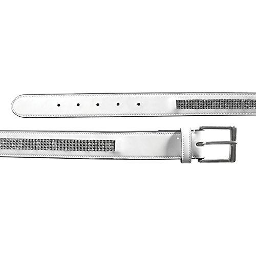 Mark Todd Diamante Patent Leather Belt Large/x Large White