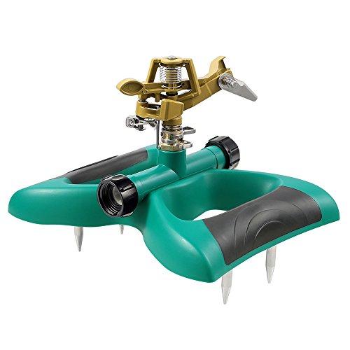 PABREY Lawn Sprinkler, Automatic 360 Adjustable Rotating Sprinkler for Garden, Impact Sprinkler with Fixed Pins, Metal Sprinkler Head by PABREY