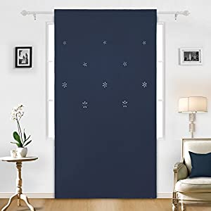 Deconovo Thermal Insulated Rod Pocket Christmas Blackout Curtains Snowflake Hollow Out Panels for Living Room, 52×95 Inch, Navy Blue