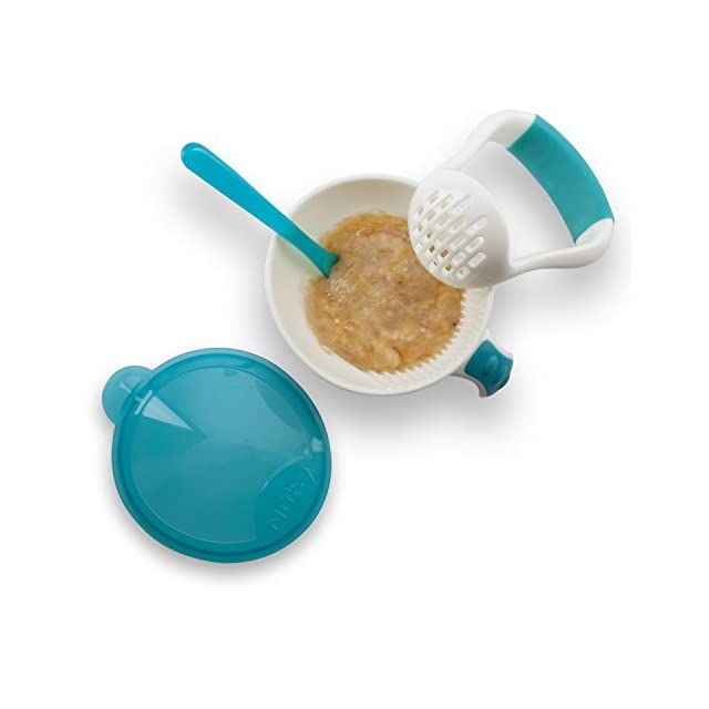 Garden Fresh Mash Feed Girl Baby Food Bowl Spoon Masher Orange//green,Blue//green