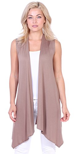 Popana Women's Casual Sleeveless Long Duster Cardigan Vest Plus Size Made in USA Small Toffee