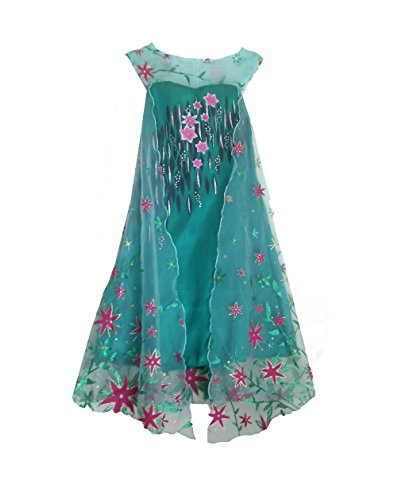 American Vogue ANNA ELSA FROZEN FEVER Girls Birthday Dress Costume (4 -5 Years Green)