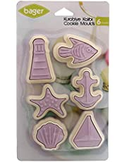 Bager BG-235 Plastic Cookie Mold And Cookie Cutter Set Of 6 Pieces With Different Shapes - Purple White