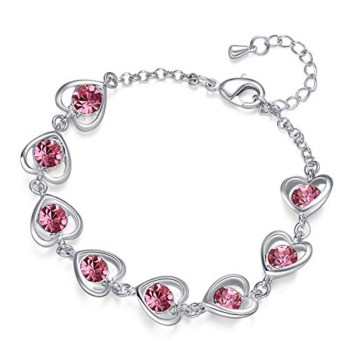 K-Acc Classic Heart Link Bracelet with Sparkling Crystal (Pink-1)