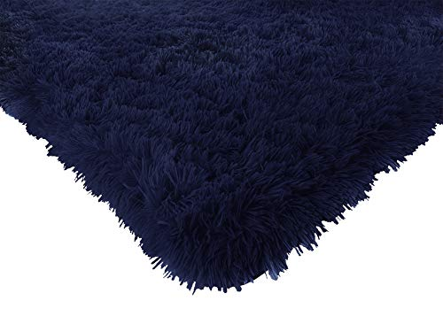 ACTCUT Super Soft Indoor Modern Shag Area Silky Smooth RugsFluffy Anti-Skid Shaggy Area Rug Dining Living Room Carpet Comfy Bedroom Floor 4- Feet by 5- Feet, (Navy)
