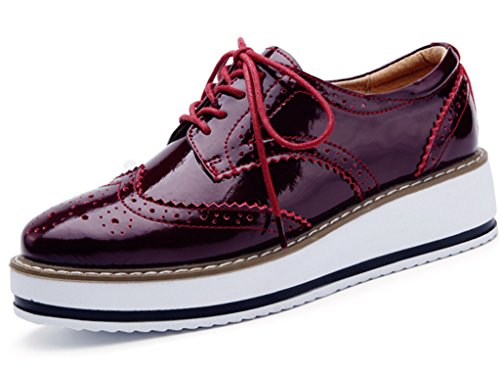 DADAWEN Women's Platform Lace-Up Wingtips Square Toe Oxfords Shoe Red US Size 7/Asia Size 39/24.5cm