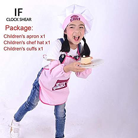 722d7401243 Buy VIAOLI IF New Cute Children Apron Fashion Chef Hat Pocket and Cuffs Set  Kids Craft Art Kitchen Cooking Drink Food Baking DIY Painting  Pink