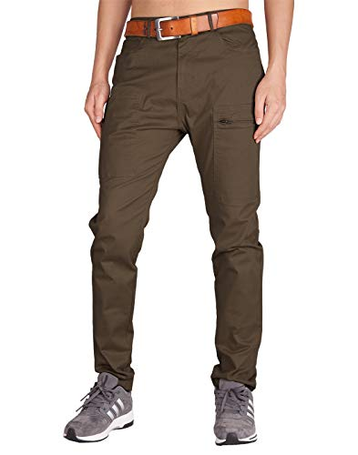 ITALY MORN Men's Chino Khaki Two Bellows Casual Pants 34 Coffee