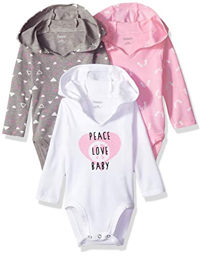 Hanes Ultimate Baby Flexy 3 Pack Hoodie Bodysuits, Pink/Grey Shapes, 12-18 ()