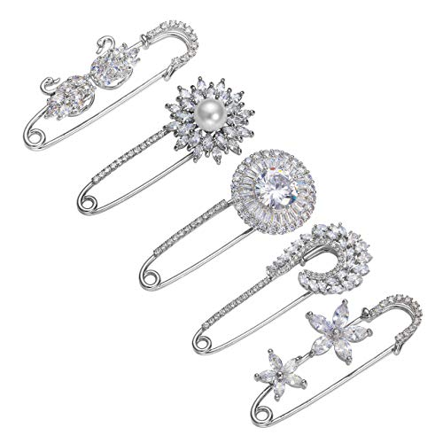Jovivi 5pcs Clear Cubic Zirconia Crystal Floral Feather Safety Pin Brooches Suit Sweater Scarves Scarf Brooch Charm