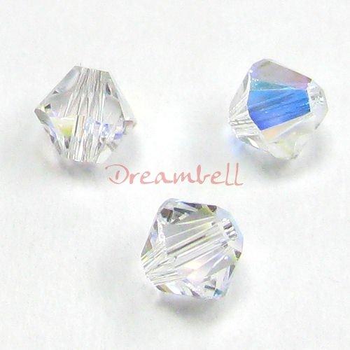 Swarovski 5301 24 Piece (24 pcs Swarovski Elements 5328 Xilion Bicone Crystal Clear AB 5mm / Findings / Crystallized Element)