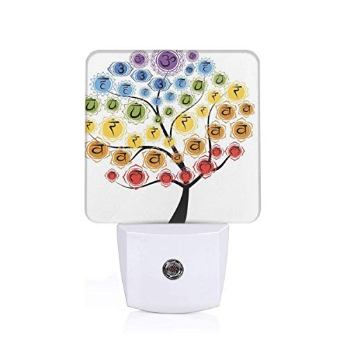 Colorful Plug in Night,Yoga Tree with Branch of Chakra Icon Harmony in Nature Worship Physical Force Theme,Auto Sensor LED Dusk to Dawn Night Light Plug in Indoor for Childs Adults ()